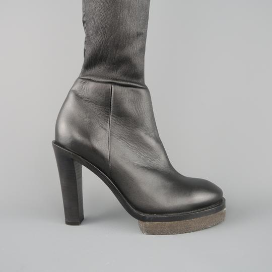 Acne Studios Stacked Heel Platform Thigh High Leather Crepe Black Boots Image 1