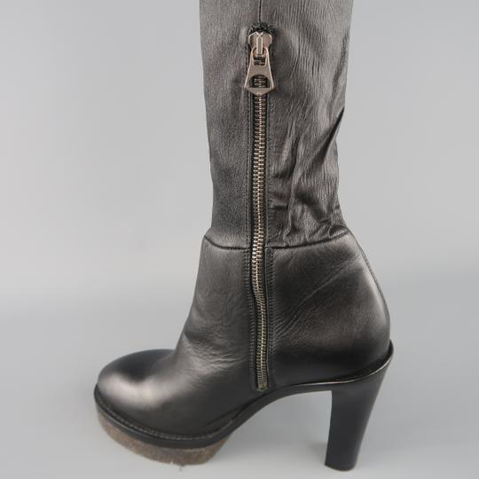 Acne Studios Stacked Heel Platform Thigh High Leather Crepe Black Boots Image 2