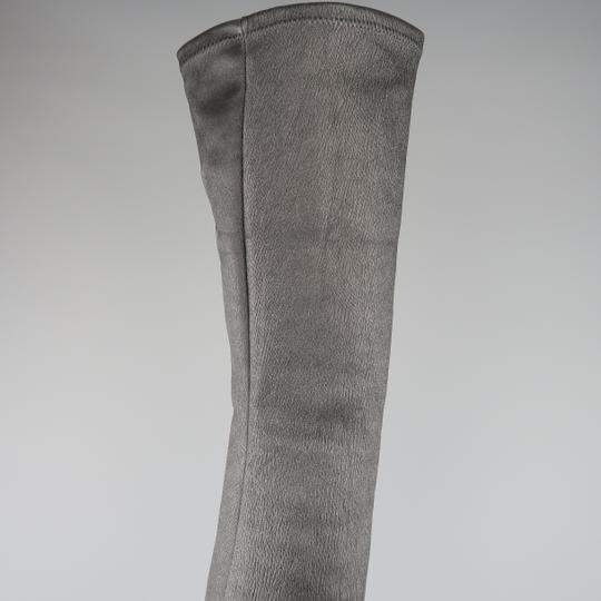 Acne Studios Stacked Heel Platform Thigh High Leather Crepe Black Boots Image 5