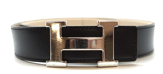 Item - #19614 Dark Navy On Beige 32mm Classic Silver H Reversible Leather Size 70 Belt