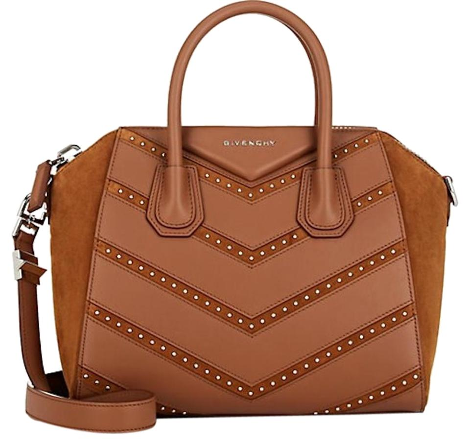 a682484e0cff Givenchy Antigona Small Chevron Studded Handle Tote Brown Suede ...