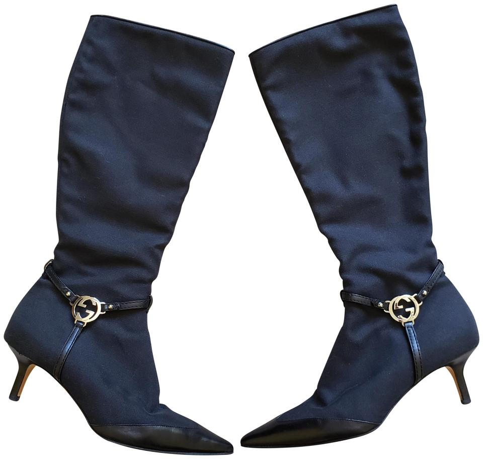 effcb4eab Gucci Black Silver Canvas Gg Logo Pointed-toe Knee-high Boots/Booties