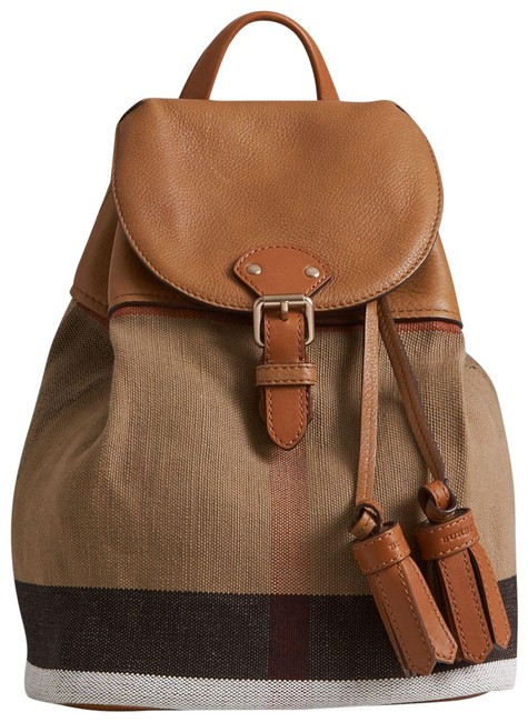 Item - Children Check Sand (Brown) Canvas Backpack
