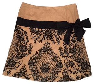 Tracy Reese Skirt Tan with black lace overlay