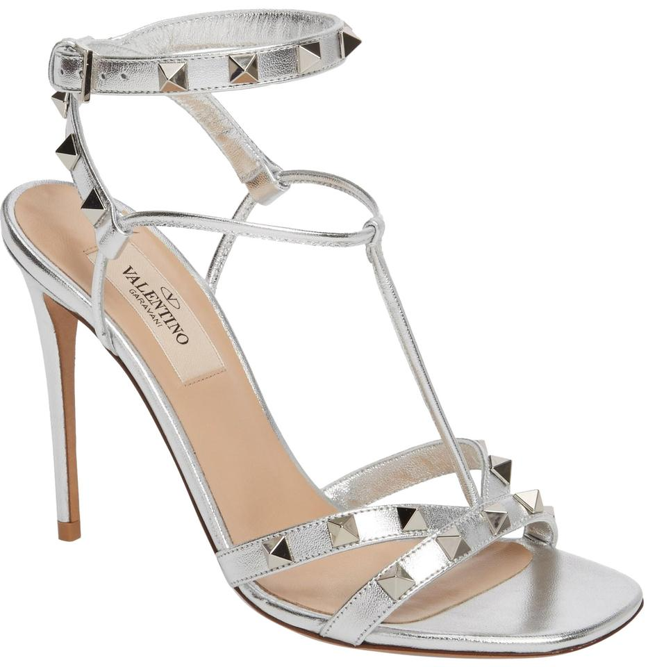 adce42ea74d Valentino Silver New Rockstud Metallic Leather Ankle Strap Sandal 40.5 Pumps