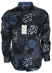 Robert Graham Blue New Men's Yardman Classic Woven Button Down Dress Shirt