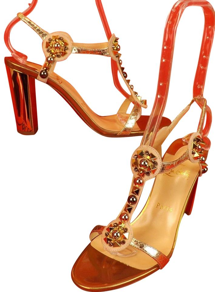 Christian Louboutin 85 Beige / Gold Kaleitop 85 Louboutin Multi Spikes Studded Mirror Sandals 2981d4