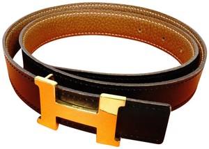 Hermès MIB Black Brown Leather H Constance 75 Kit Palladium Buckle Belt Z