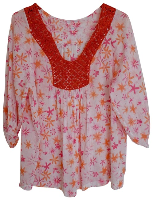 Item - Pink and Orange Floral Blouse Size 6 (S)