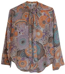 Erica Tanov Bohemian Style Silk Patterned Top multi colored
