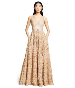 Adrianna Papell Rosette Tulle Ball Gown Embellished Dress
