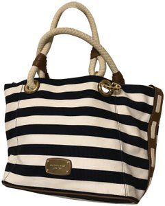 4e715afb1468 Michael Kors Travel   Canvas Tote in Navy Blue and White