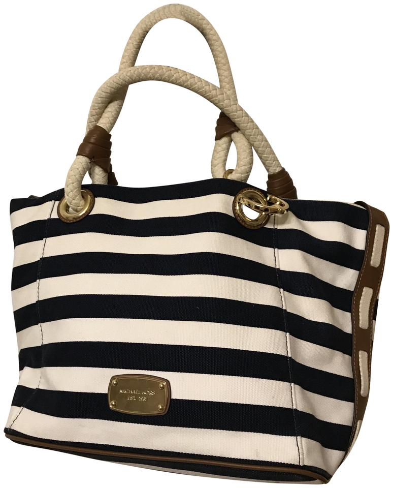 3f87c4cf70a177 Michael Kors Marina Striped Anchor Sailor Grab Shoulder Navy Blue and White  Canvas Tote