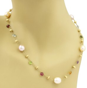 Marco Bicego Paradise Multicolor Gems & Pearls 18k Yellow Gold Necklace