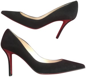new styles 2c5ac 2f16f Christian Louboutin Black Apostrophy 85 Suede Heels Pumps Size EU 35  (Approx. US 5) Regular (M, B) 16% off retail