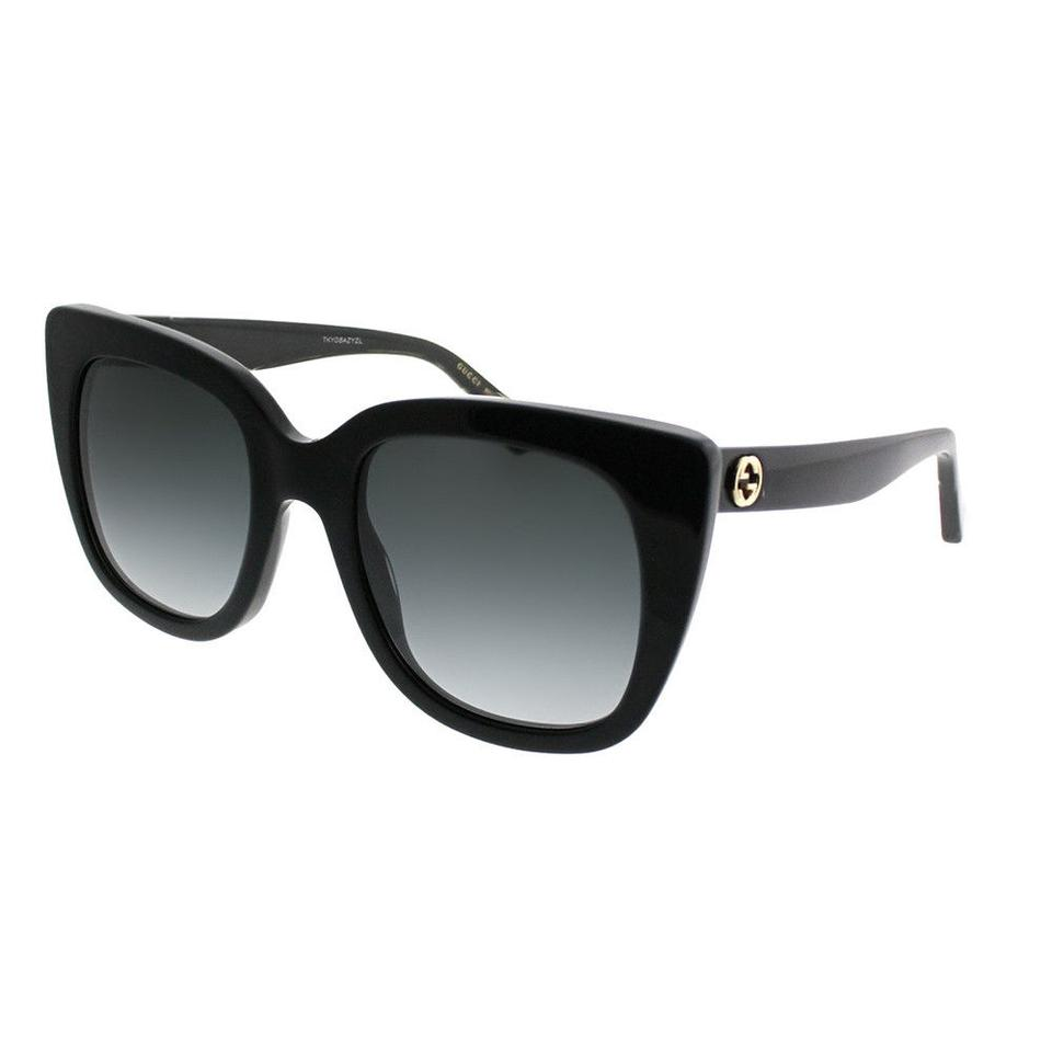 15decb802b414 Gucci ucci GG0163S 001 Black Cat Eye Sunglasses Grey Gradient Lens Image 0  ...