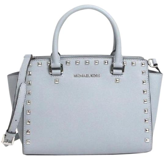 34000a5074ff Michael Kors Studded Selma Mk Saffiano Leather Selma Mk Satchel in Dusty Light  Baby Blue ...