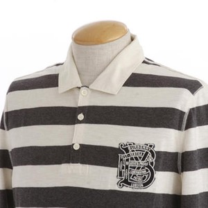 Burberry Brit Charcoal   Natural White Striped Cotton Long Sleeves Polo Xxl  Shirt e9fd87ce320