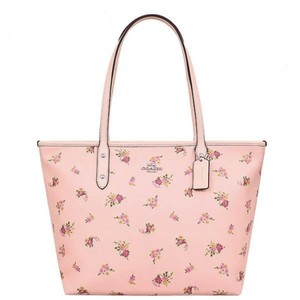Coach Zip Top Shoulder Floral City Tote in Pink