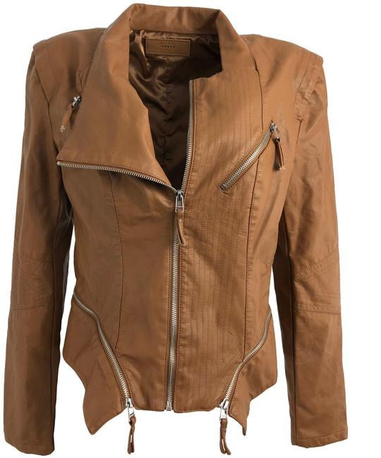 Item - Brown Vegan Leather Moto Jacket Size 12 (L)