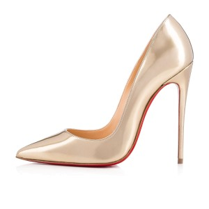 Christian Louboutin Stiletto So Kate Rosa Trash Patent Light Gold Pumps