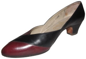 Salvatore Ferragamo Dressy Or Casual Mint Vintage Color-block Style Recently Re-heeled Rare Wide Width Size brown & olive green leather Pumps