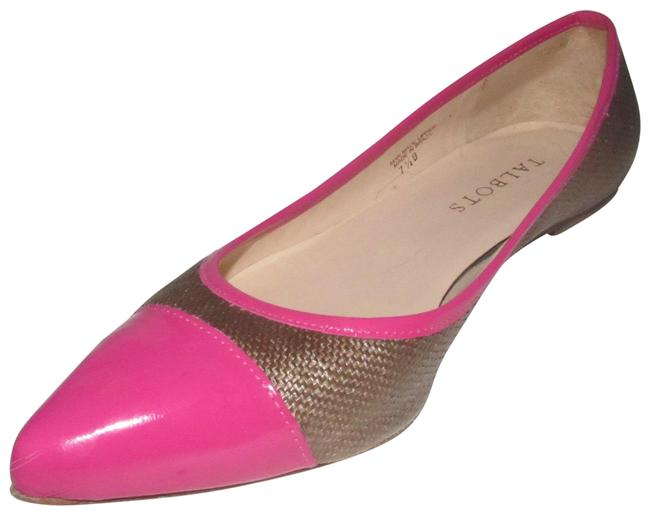 Item - Hot Pink Patent Leather and Brown Raffia New Shoes/Designer Flats Size US 7.5 Regular (M, B)