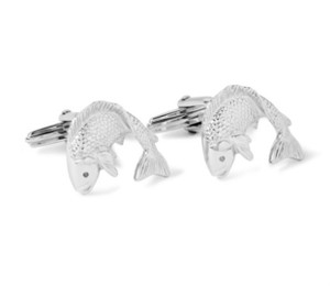 Lanvin Fish-Themed NEW Lanvin-Paris Silver-Tone Luxury Cufflinks Fishing