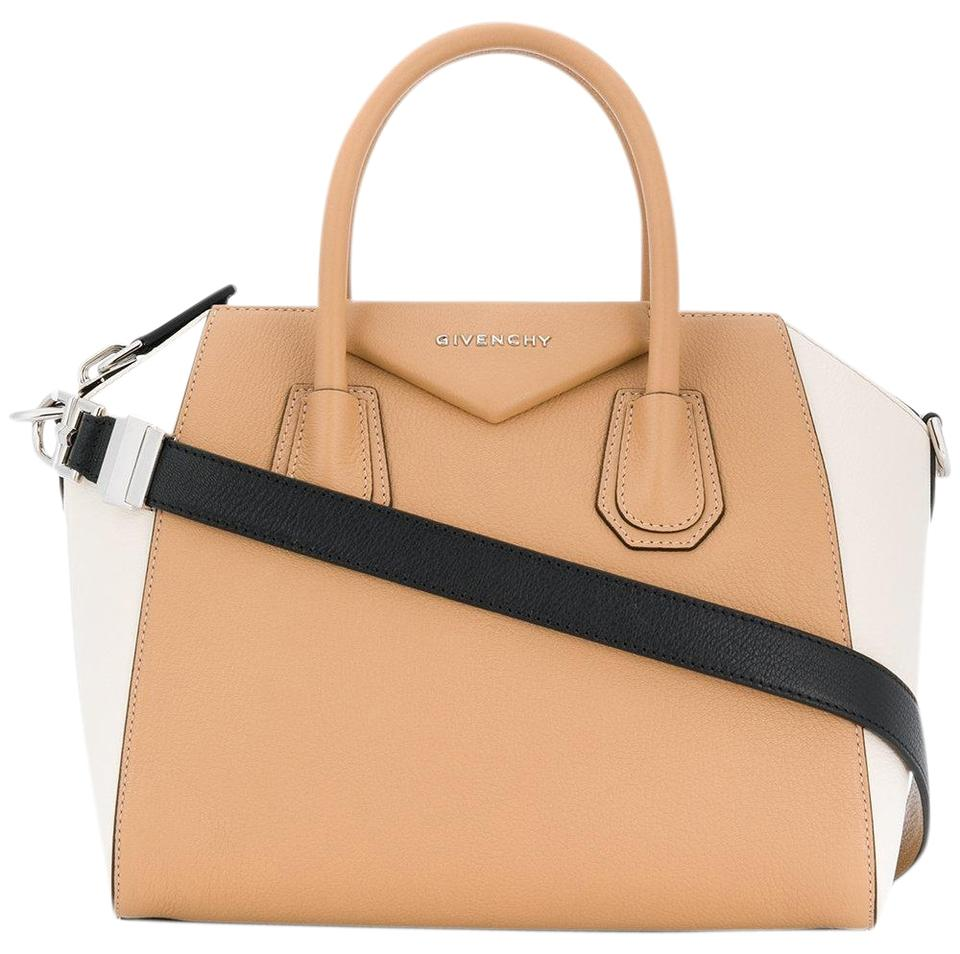 fb02b7838b Givenchy Antigona Small White Black Tricolor Handle Duffel Tote Beige Goat  Skin Leather Shoulder Bag