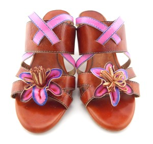 Spring Step Flower Floral Nadia Burnt Orange Sandals