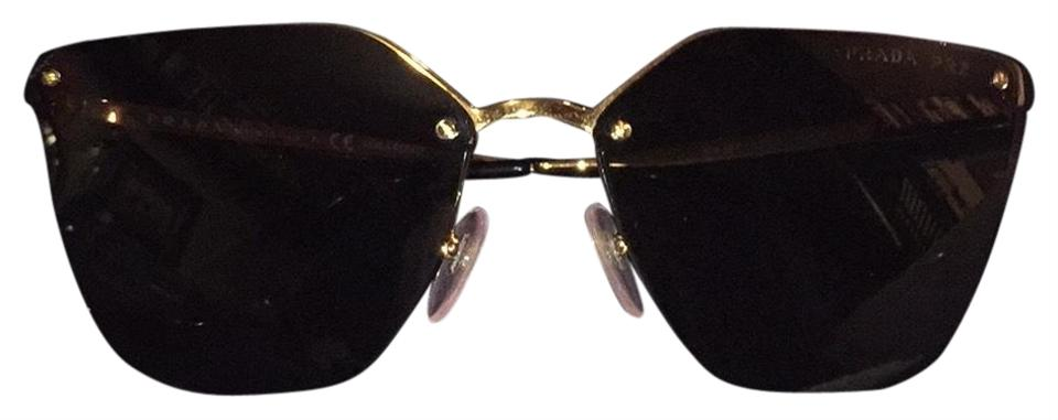 3580355083c51 Prada Black Gold Spr 68t Sunglasses - Tradesy