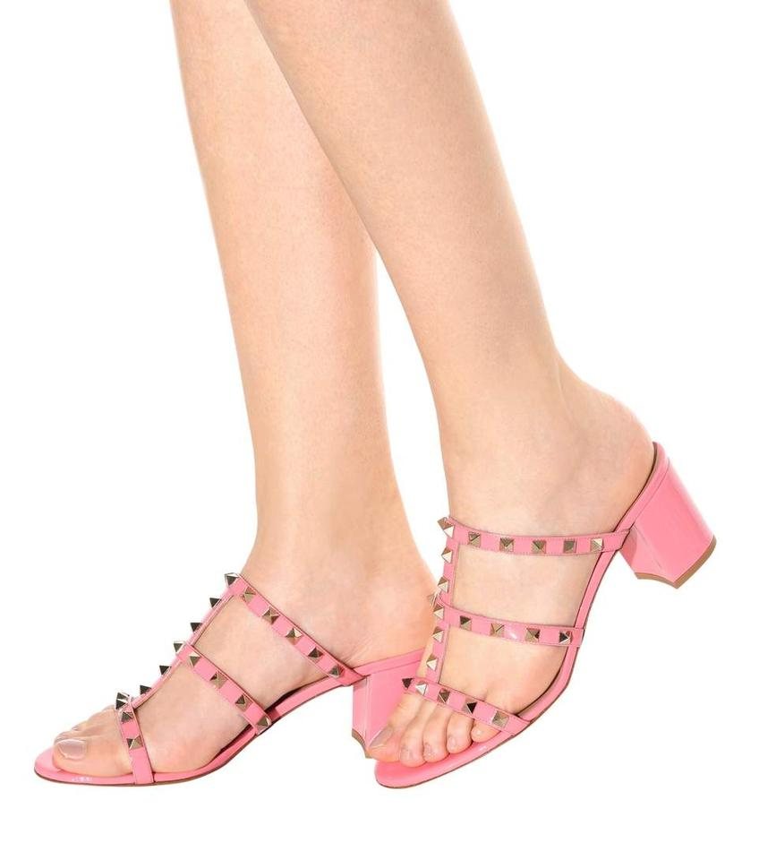 a4ca48b60e7 Valentino Shadow Pink Rockstud Caged 60mm Slide Sandals Size US 11 ...