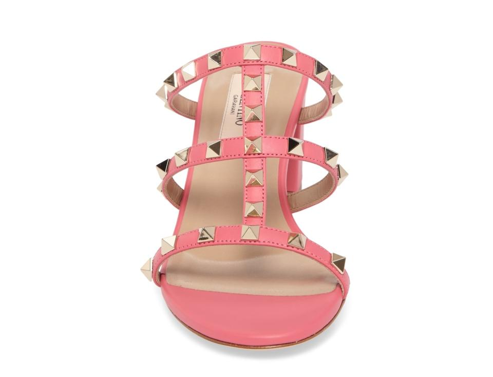 0df2ef58e1c0 Valentino Shadow Pink Rockstud Caged 60mm Slide Sandals Size US 11 ...
