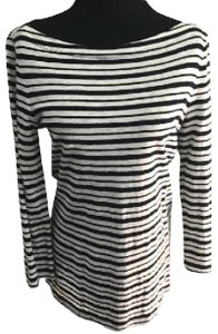 Tory Burch Spring Longsleeve New Spring Summer Spring Striped T Shirt black and ivory