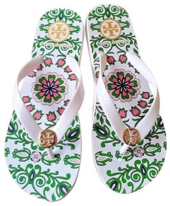 Tory Burch Miller Garden Party Summer Flip Flops White green floral Sandals
