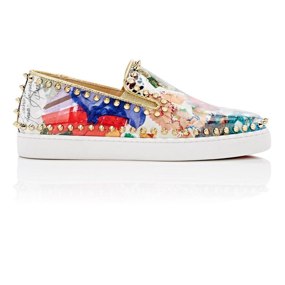 best sneakers 67fac 5708c Christian Louboutin Multicolor Pik Boat Patent Trash Spike Studded Sneakers  Flats Size EU 37.5 (Approx. US 7.5) Regular (M, B) 20% off retail