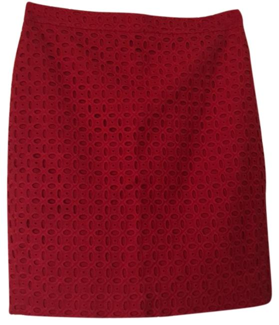 Item - Red Eyelet Pencil Skirt Size 6 (S, 28)