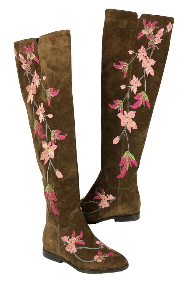 Ash Russet 9/Eu39 and Multi-color Jess Ter 9/Eu39 Russet Brown Embroidered Floral Over The Knee Boots/Booties 0c29f2
