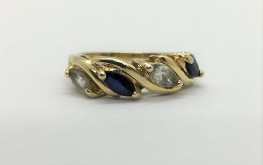 Other 14k Yellow Gold Vintage Blue and White Topaz Ring Size 5 Fessenden