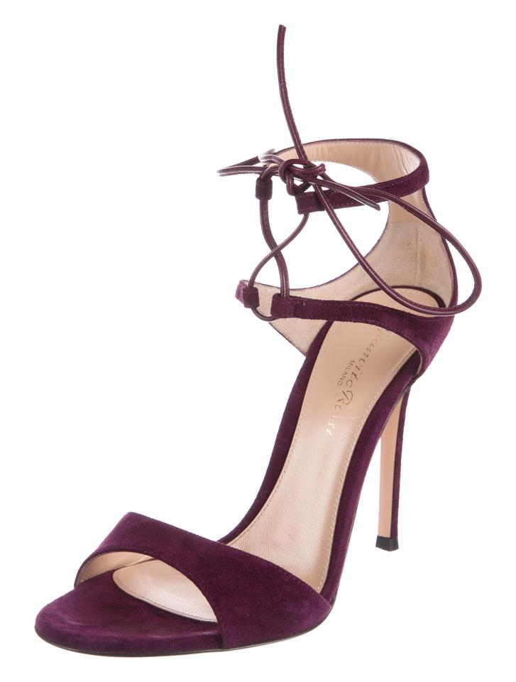 b77446e0cbb Gianvito Rossi Burgundy New Darcy Double Ankle Strap Suede Heels Sandals