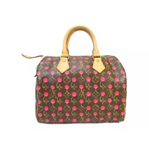 Louis Vuitton Neverfull Ebene Azur Damier Artsy Satchel in Cherry Cerises Red Monogram
