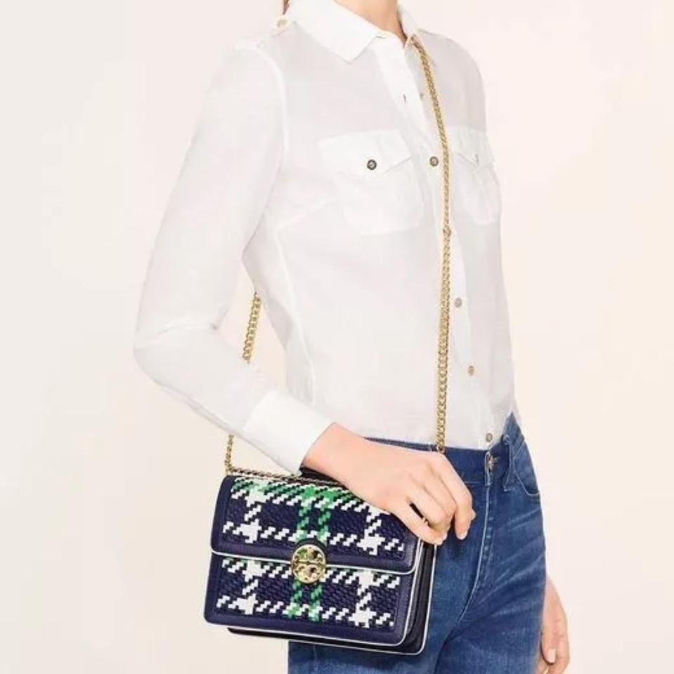 72553ce61f0 Tory Burch Duet Chain Convertible Navy Court Green New Ivory Woven ...
