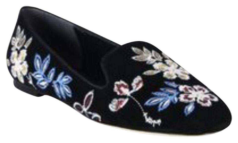 Tory Burch Black Black Black Embroidered Floral Smoking Slippers Flats a9a0e7
