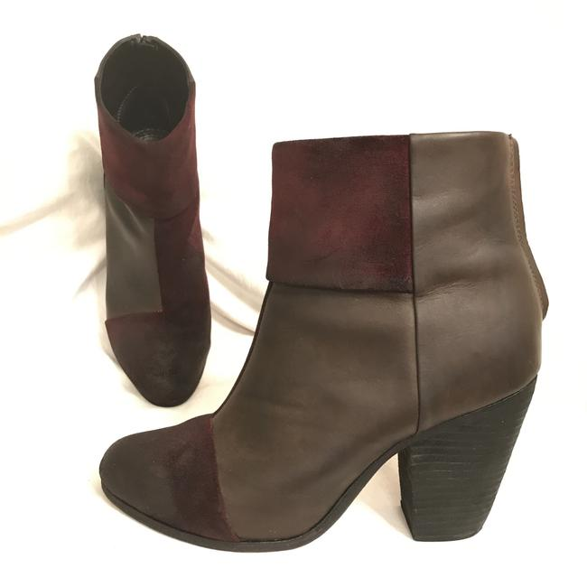 Item - Gray Brown Red Newbury Rare Distressed Leather Oil Rub Suede Ankle Boots/Booties Size US 10 Regular (M, B)