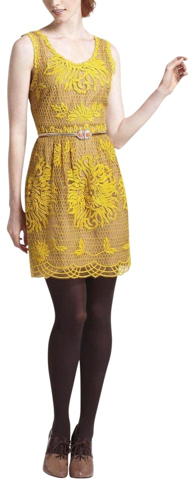 Anthropologie Yellow Honeycomb Lace By Yoana Baraschi Mid-length ... abf76f917