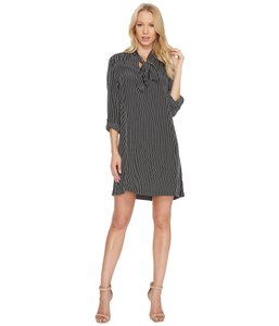 Joie Tie Neck Striped Silk Dress