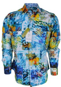 Robert Graham Multicolor New Men's Trenkle Classic Button Down Dress Shirt