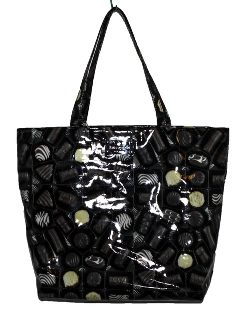 Item - Chocolate Brown Black Yellow White Patent Leather Tote