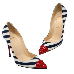 Christian Louboutin Pik Pik Very Prive So Kate Yoyo Studded Red/Navy Pumps