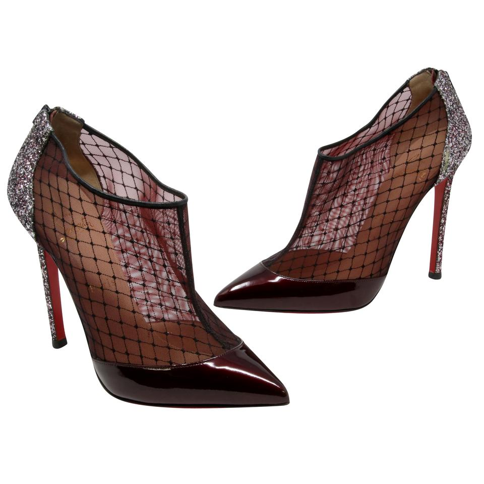 41a4e1b1e4aa Christian Louboutin Multicolor Burgundy Fillette Patent Leather Mesh Net  Glitter-heel Pointed Toe 39.5 Boots Booties